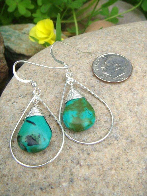 small turquoise teardrop earrings