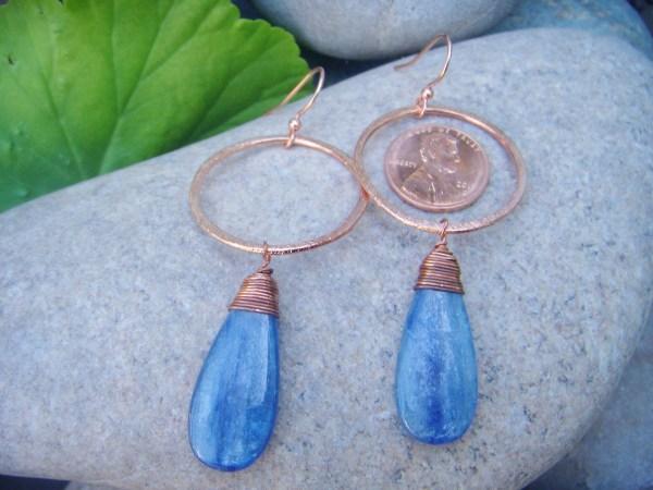 copper hoop kyanite earrings