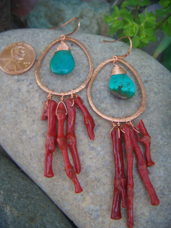 turquoise & coral earrings