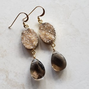 champagne druzy earrings