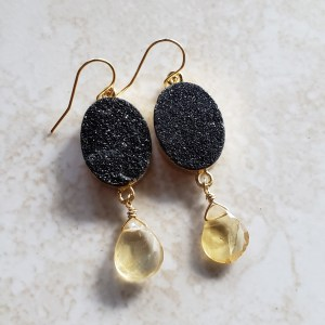 black druzy citrine drop earrings