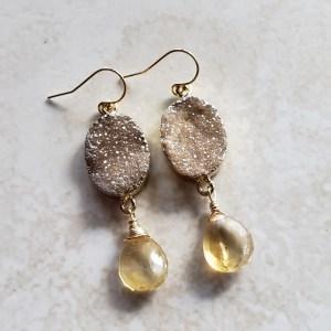 citrine druzy earrings