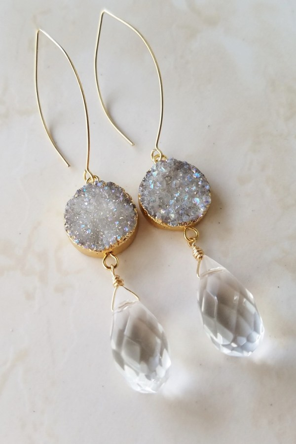 crystal druzy earrings