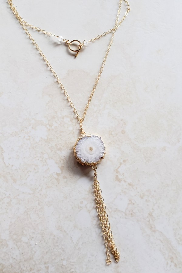 white agate tassel necklace