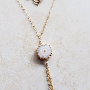 white agate tassel necklace