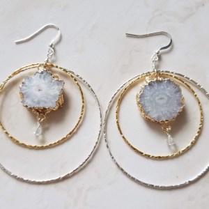 mixed metal hoop earrings