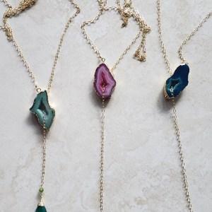 druzy lariat necklaces