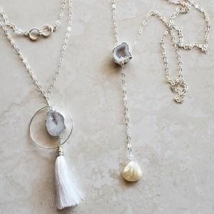 white agate necklaces