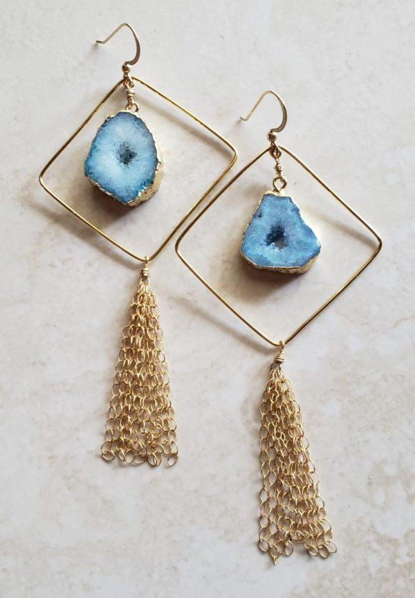 blue agate geode earrings