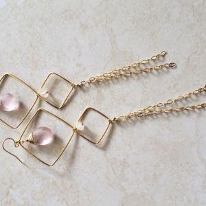 rose quartz and gold earrings
