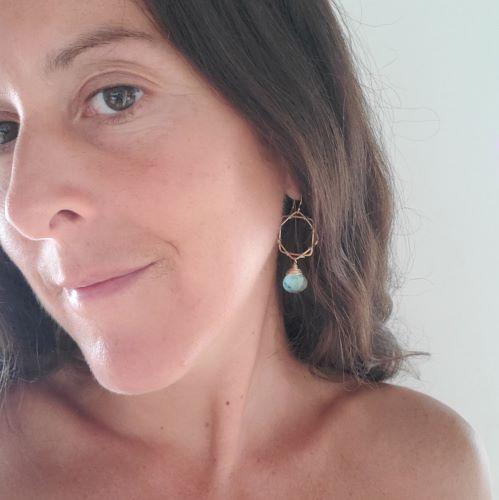geometric earrings on