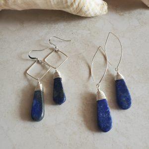 lapis drop earrings in silver