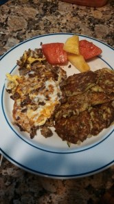 Day 37: Zucchini pancakes, grassfed ground beef with eggs, Pinemelon... or, waterapple! Hmm..