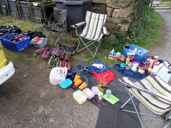 Day 2 - Wasdale Rare Goats Farm - regular stash of supplies at a support stop