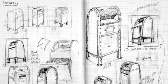 Postbox Pencil Sketches v9