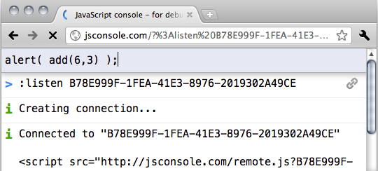 Invio di un comando utilizzando JSConsole.com