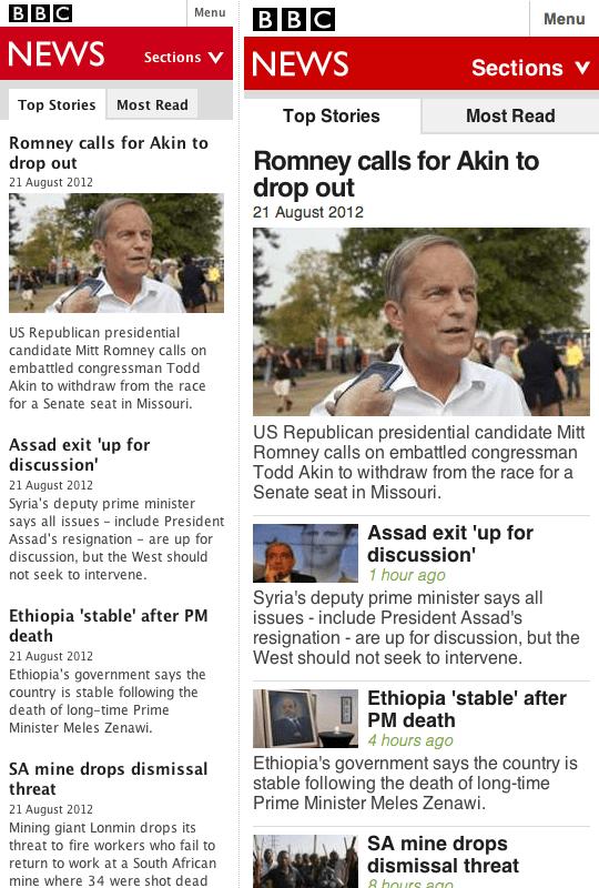 L'esperienza del sito mobile di BBC News