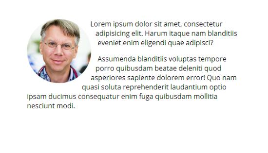 Screenshot che mostra una foto per lo user profile con il testo che si dispone attorno ai bordi circolari.
