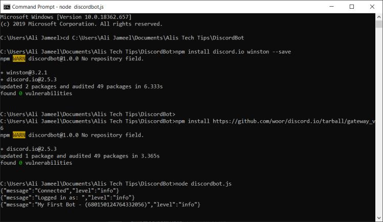 Discord Node.js Run Bot File