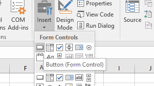 Insert Excel Form Control Command Button