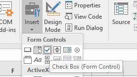 Insert Excel Form Control Checkbox