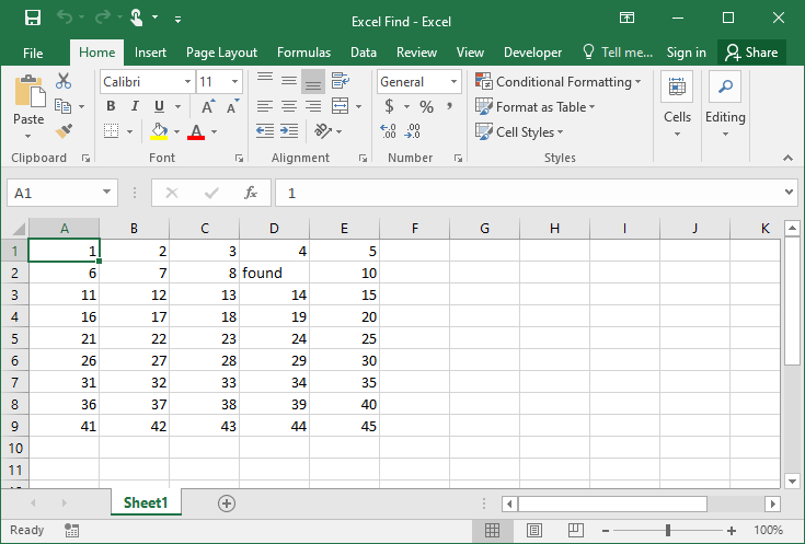 Excel Find example 2