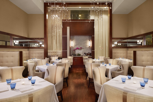 "The Main Dining Room at Congress, an upscale Downtown Austin restaurant spotlighting chef David Bull's ""over-the-top"", ""no-holds-barred"" New American creations."