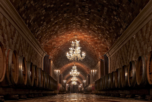 The original Del Dotto tasting room with barrels lining the walls of the caves hand dug by the Chinese in the 1800's