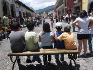Kids watching mime antigua