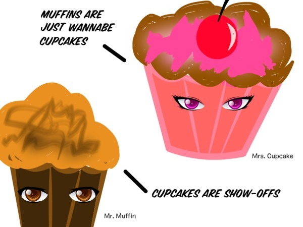 Apparently Muffins And Cupcakes Are Frenemies