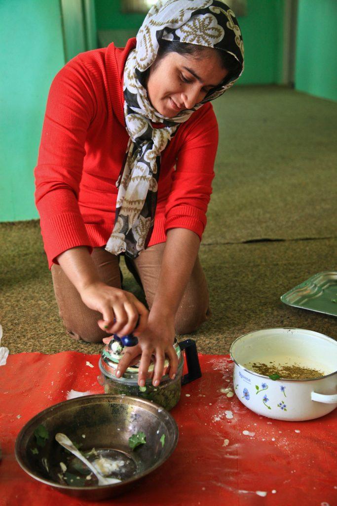 Muslim woman preparing food
