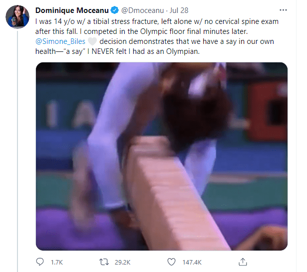 Dominique Moceanu's twet about Olympic injury