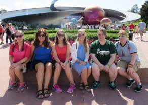 My daughters, nieces and me in front of Mission Space.