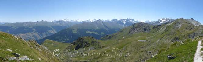 In the distance, in the middle of the picture, (either side of the Pic d'Artsinol), are the Dent Blanche and the Matterhorn.