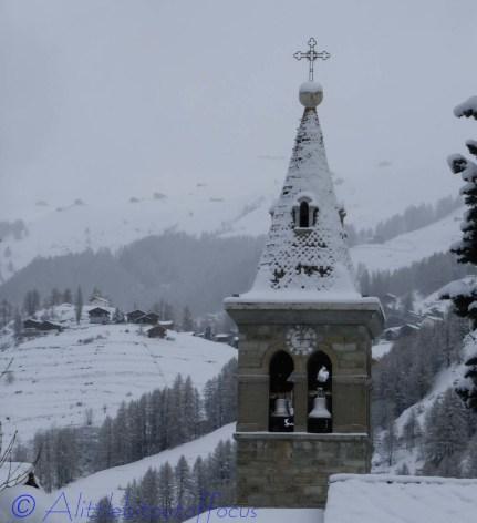 Les Haudères church belltower