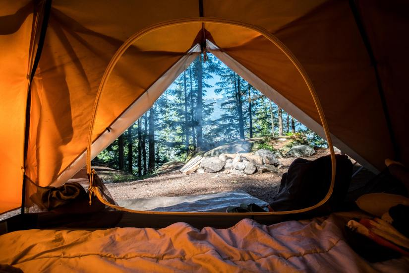 a perfect view from an orange tent