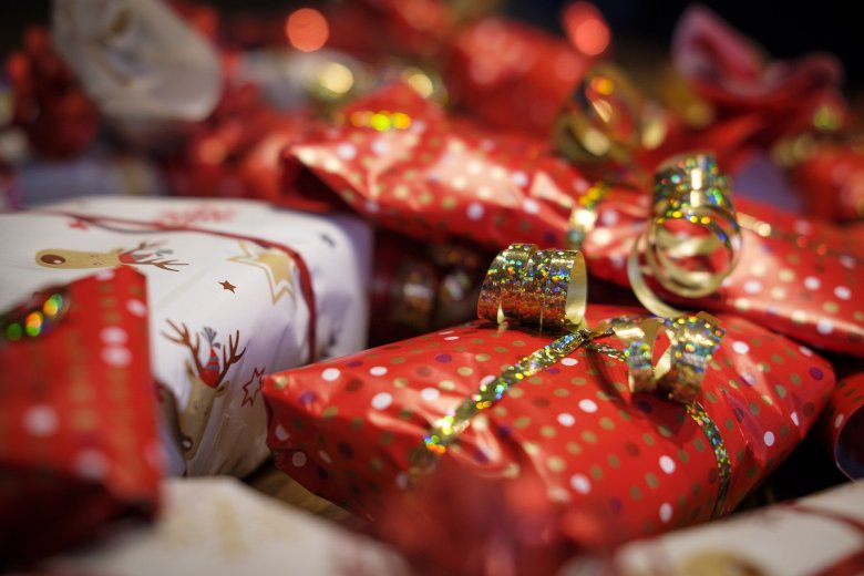 Red and gold wrapped presents