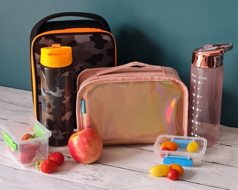 SMASH lunchboxes with water bottle and snacks.