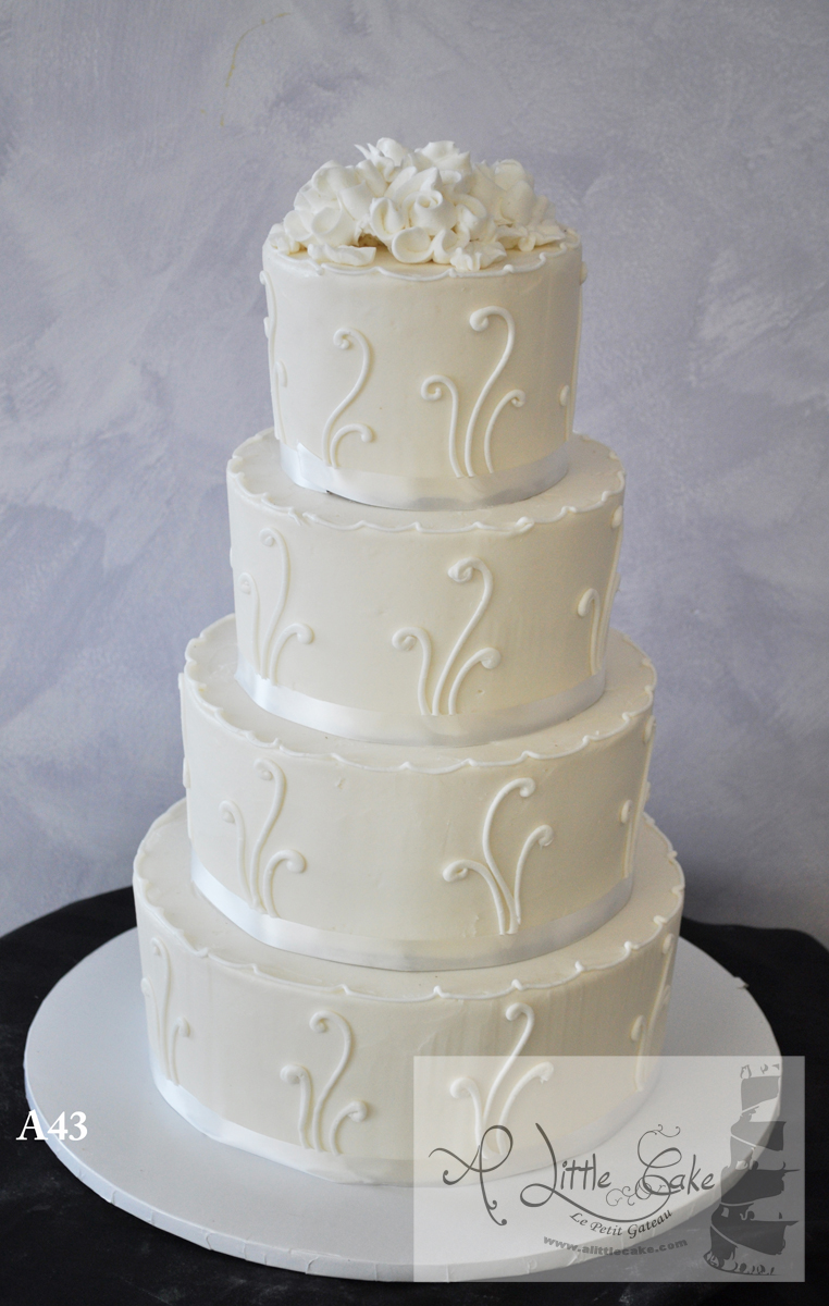 A43 Elegant Buttercream Wedding Cake With White Bands