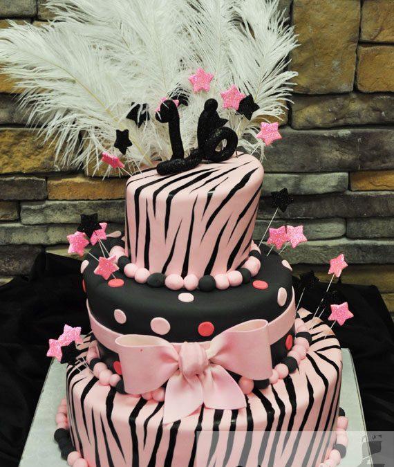 Zebra Sweet Sixteen Birthday Cake A Little Cake