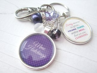 Personalized and custom teacher keychain in royal purple