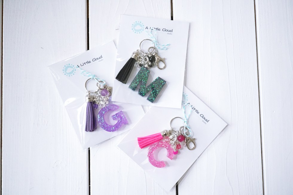 Resin Letter Keychain Bag charm