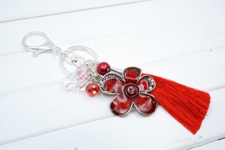 red flower bag charm