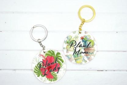 plant theme keychain with different plant graphics