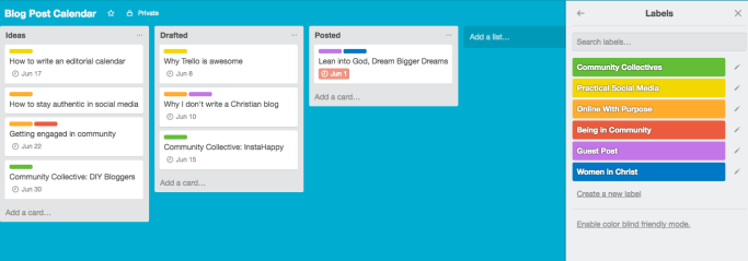 using trello for a blog editorial calendar