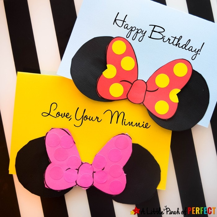 Adorable Homemade Minnie Mouse Card And Free Template