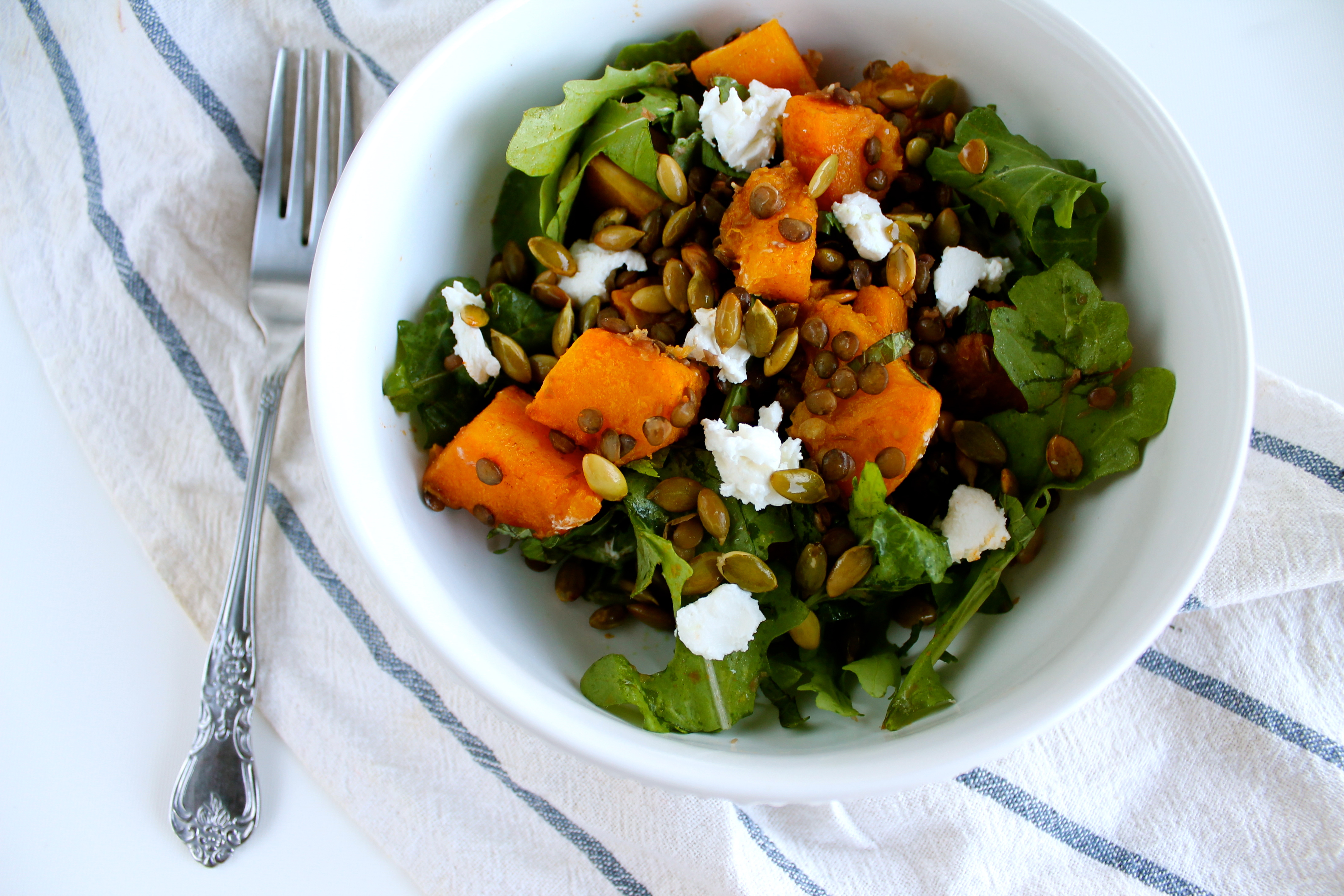 Spicy Squash and Lentil Salad with Goat Cheese