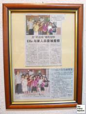 Newspaper clippings - celebrity Taiwanese girls band SHE, Ella visited the restaurant. Photo by The Friday Rejoicer.