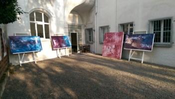 """Aliv Franz, 2015 Titel """"WERKREIHE - DESIDERATA"""" 200 x 200 cm und 100 x 200 cm Mischtechnik auf Leinwand"""