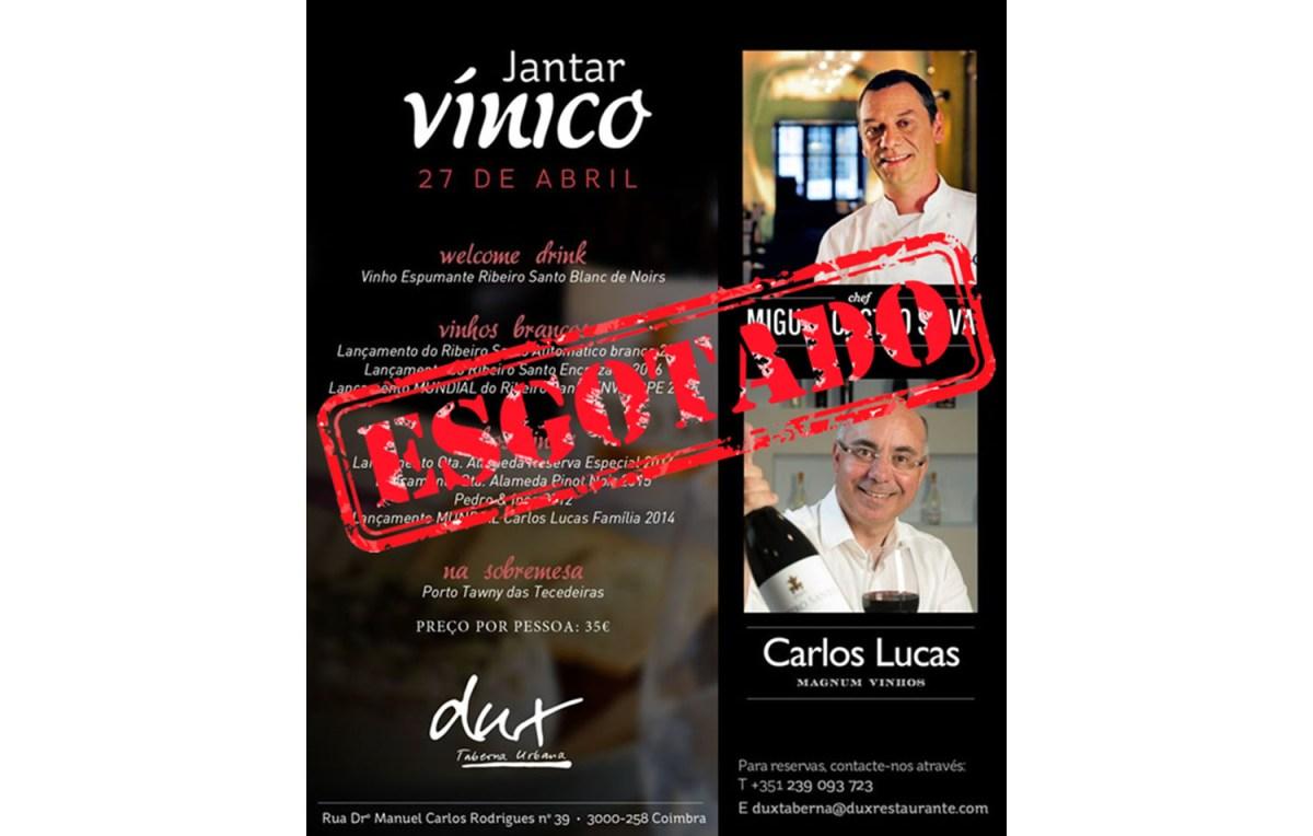 Jantar vínico com vinhos Carlos Lucas esgota 4 dias antes